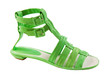 Lime green leather tall flat sandal