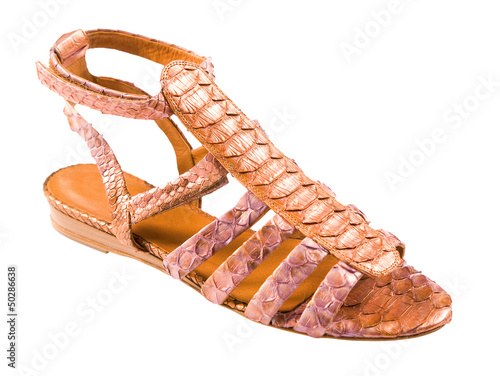 Python leather roman sandal