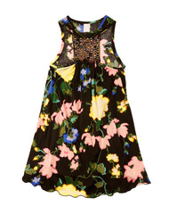 Big flowers print black dress with rings and sequins