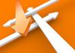 Pfeilkonzept Vier Richtungen - Orange Weiß
