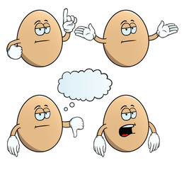 Collection of bored eggs with various gestures.