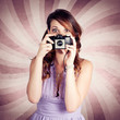 Pin-up Photographer Girl Taking Surprise Photo