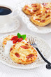 Cottage cheese pancakes with goji berries, selective focus