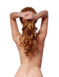 curly brown hair, backside of young woman with long ponytail