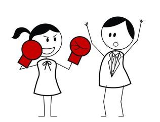 businesswoman boxer fighting