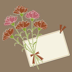 Carnations and Message Card