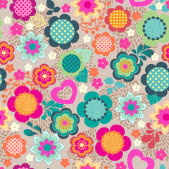 cute colorful floral seamless background