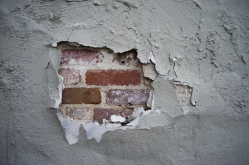 broken plaster wall