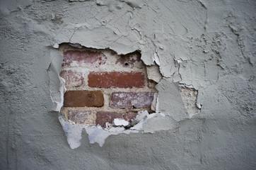 broken plaster wall