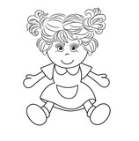 Outlined girl doll toy vector illustration on white background
