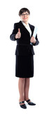 Mature adult businesswoman in a black suit showing ok sign