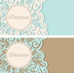 Vintage invitations with circle and floral elements.