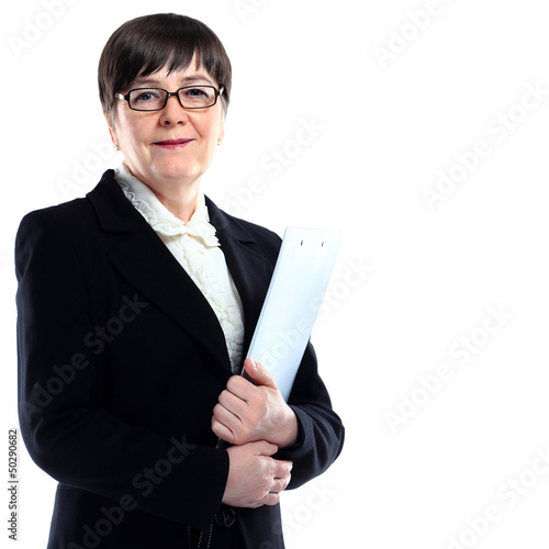 Mature adult businesswoman in a black suit