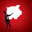 big piggy bank in men hand stock vector