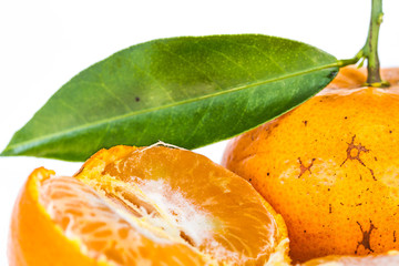 Orange flesh on white background