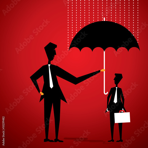 men cover other businessmen by umbrella for rain concept