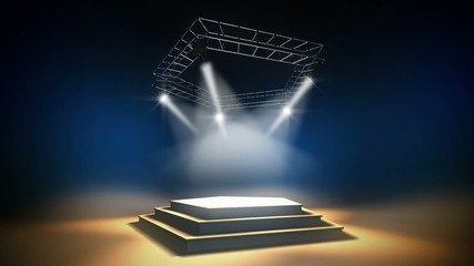 Illuminated music stage on a dark background. Seamless loop. HD.