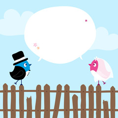 Wedding Couple Birds Fence Speech Bubble
