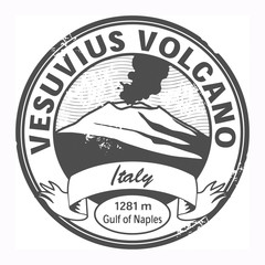 Grunge stamp with words Vesuvius, Italy, vector illustration