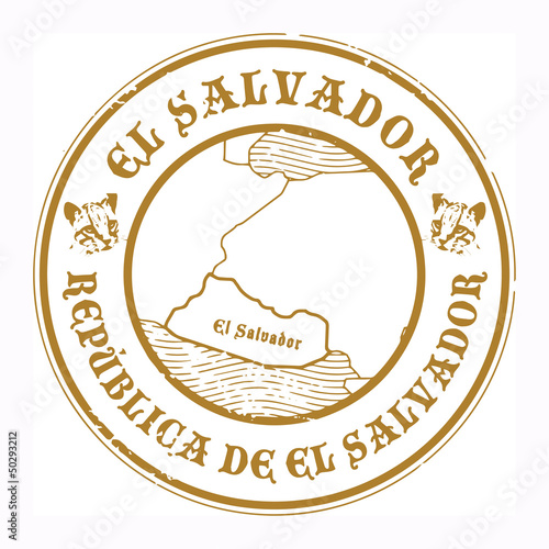Grunge rubber stamp with the name and map of El Salvador, vector