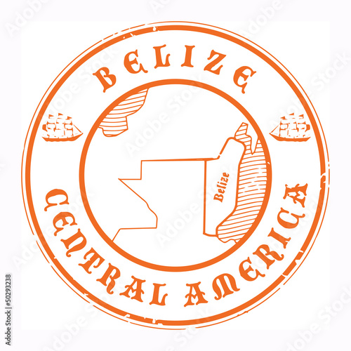 Grunge rubber stamp with the name and map of Belize, vector