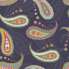 paisley elements seamless pattern