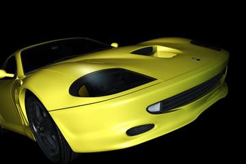 Frontansicht gelber Sportwagen