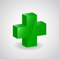 Pharmacy symbol - green cross, vector