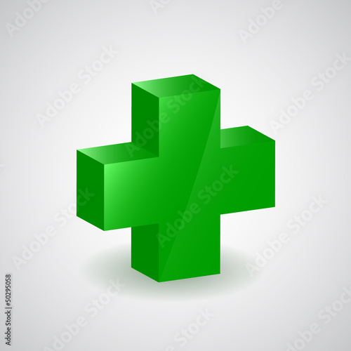 Pharmacy symbol - green cross, vector