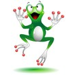 Happy Jumping Frog Cartoon-Ranocchia Salta Felice-Vector