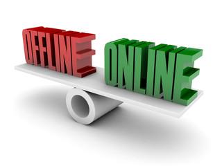 Offline and Online opposition. Concept 3D illustration.