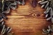 Holzwand mit Tannenzweigen