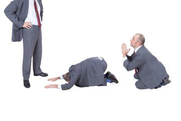 businessmen begging his boss