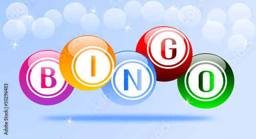 Fondo celeste con scritta bingo