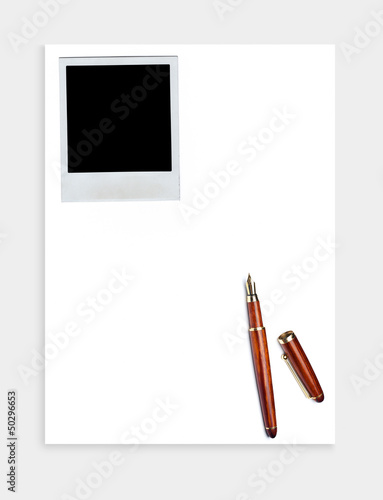 blank paper sheet with blank instant photo
