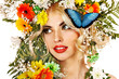 Woman with butterfly and flower.