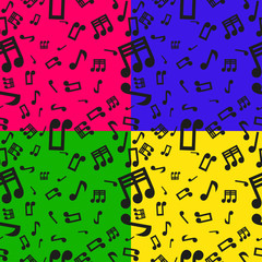 Set Of 4 Seamless Musical Notes Pattern