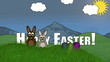 Happy Easter Animation with Easter Bunnies