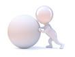 Little man rolls a giant ball