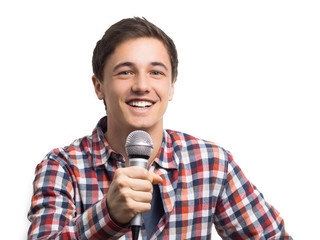 Junger Mann mit Mikrofon