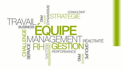 Equipe gestion travail management RH nuage de mots animation