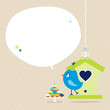 Blue Bird 10 Cupcakes House Speech Bubble Beige Dots