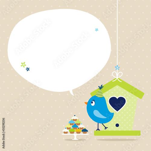 Blue Bird 10 Cupcakes House Speech Bubble Beige Dots