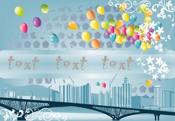 long bridge and balloons illustration