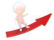 Little man surfs a red upwards arrow