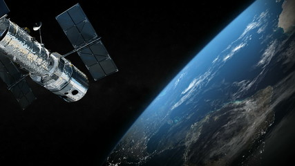 Satellite and earth planet in the outer space