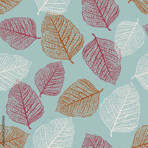 Panel Szklany Vector Seamless Pattern of Colored Leaves
