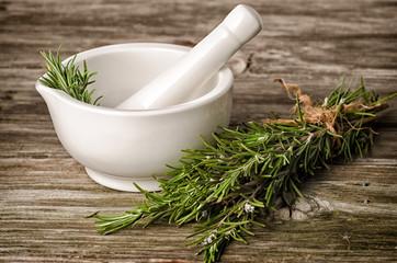 Rosemery herbs and pestle