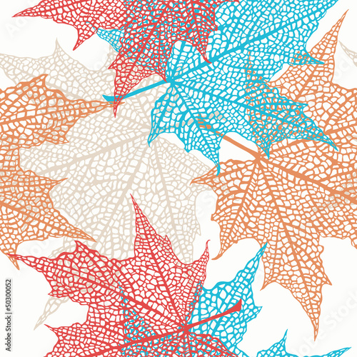 Panel Szklany Vector Seamless Pattern of Colored Maple Leaves