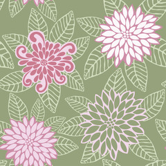 Vector Seamless Pattern of Pink Flowers